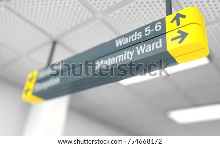 A ceiling mounted hospital directional sign highlighting the way towards the maternity, ward - 3D render