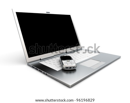 A cell phone and a Laptop. Mobile communication technology. 3D rendered Illustration. - stock photo