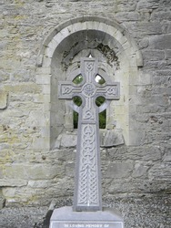 A Celtic Cross found in the Medieval ruins of Cong Abbey in Co Mayo Ireland