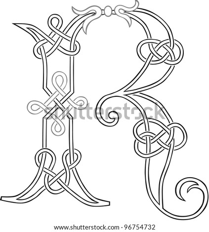A Celtic Knot Work Capital Letter R Stylized Outline Raster Version