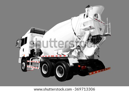 A Cement Delivery Lorry isolated on gray background with clipping path