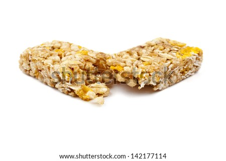 A cereal bar over a white background.