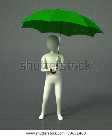 A CG character holding an umbrella standing in a rain