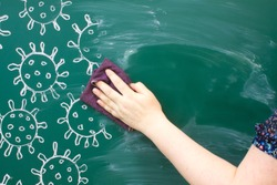 A chalk drawing on a green blackboard - close-up of coronavirus molecules and hand washing with a rag copy space. Concept-back to school and stop coronavirus
