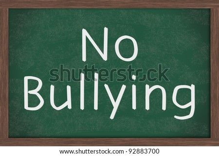 A chalkboard  with the chalk letters no bulling
