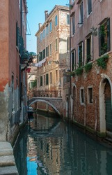 A channel in residential part of Venice, Italy