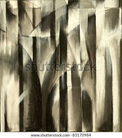 A charcoal study for an abstract painting suggestive of architecture - columns and arches.