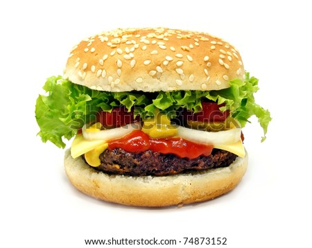 A cheeseburger isolated on a white background