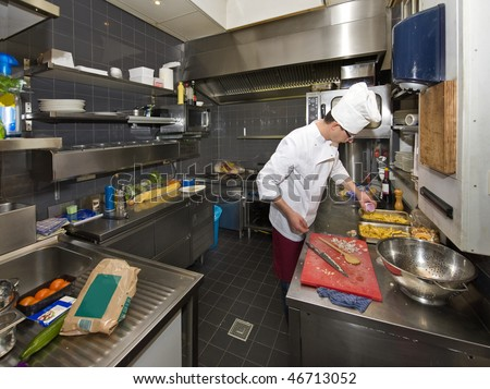A chef in a professional kitchen, preparing dinner