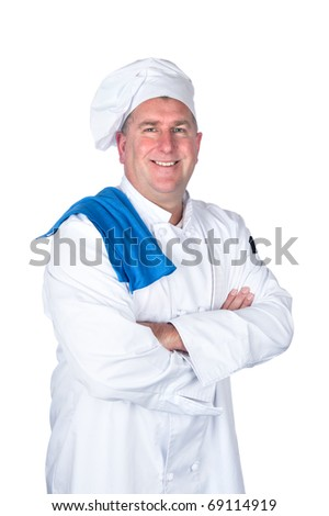 A chef posing with his arms crossed isolated on white.