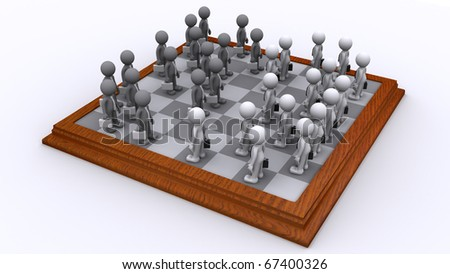 A Chess board of Business people. Isolated
