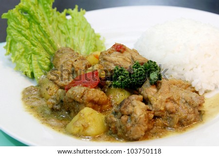 A chicken curry rice with garnishing serve on a plate.