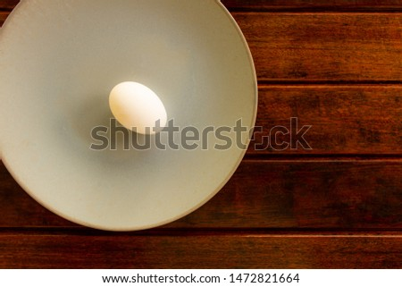 A chicken egg on a plate and a wooden table. Copy Space Organic and natural food. Vegetarian food.