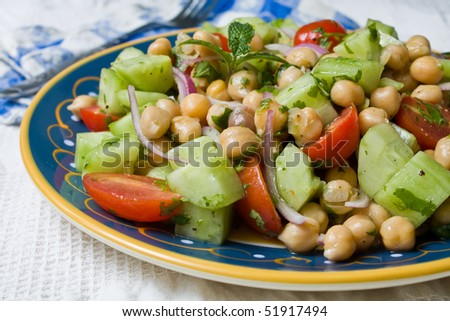 A Chickpea (Garbanzo Bean) Salad on a plate