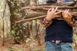 A child collects firewood in the forest. Little lumberjack. The boy is looking for old tree branches. Child and firewood. Autumn time.