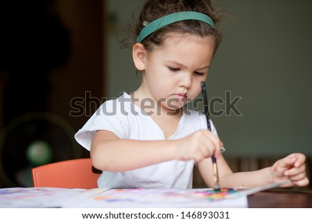 A child draws a picture