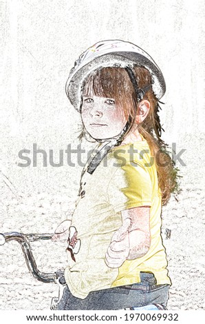 A child girl with mid-brown hair and put on cycling helmet shows the 'cool' gest, color pencil imitation. Pretty little schoolgirl in a canary-colored t-short looks happy to ride on a childish bike Zdjęcia stock ©
