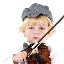 A child in a bow and hat playing a violin.