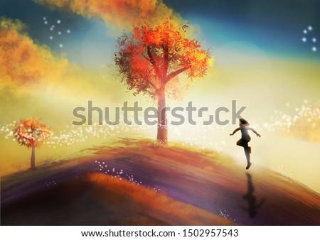 A child runs over a hill in a brightly colored landscape.  Fantasy concept artwork. Original digital illustration.
