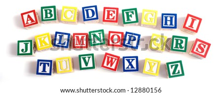 A child's alphabet blocks on a white background
