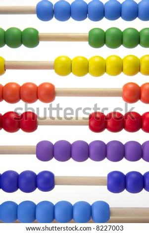 A child's learning abacus on a white background.