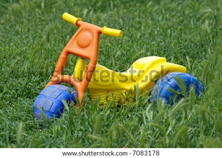 A child's toy bike left in the overgrown grass.