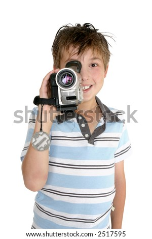 A child taking some video footage with a digital video camera. - stock photo