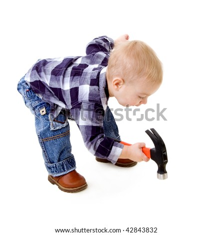 A child with a hammer
