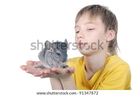 A child with a new baby chinchilla