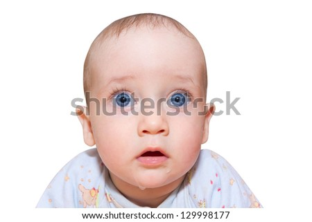 A child with a surprised expression on his face with big eyes isolated on white
