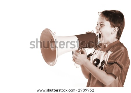 A child yelling in protest through a megaphone.