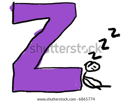 A childlike drawing of the letter Z, with a stick person sleeping