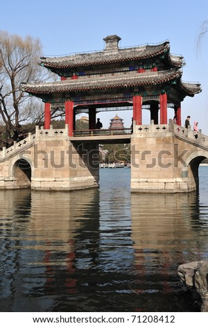 A Chinese bridge over the Summer Palace lake, Beijing, China