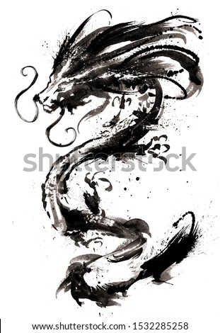 A Chinese dragon with glowing eyes and a blotchy mane painted in ink . 2D illustration