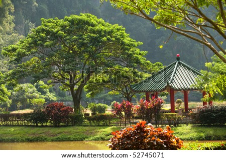 a chinese rest-house in a park