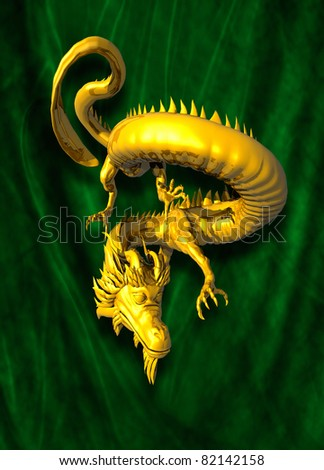 A chinese style golden dragon on green cloth background