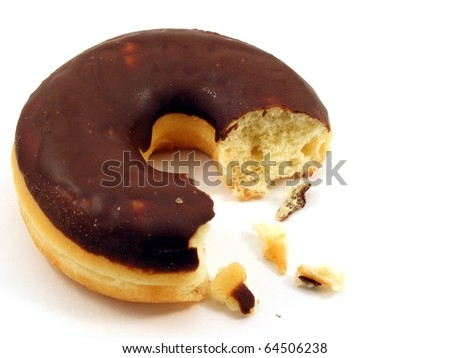 A chocolate doughnut with a bite missing, isolated on a white background