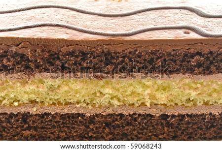 A chocolate fudge layer cake background