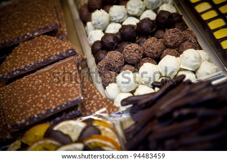 A chocolate shop in Brugge, known as the world's chocolate capital - stock photo
