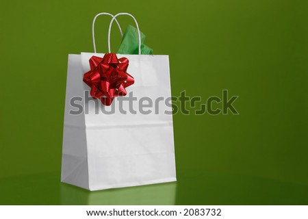 A christmas bag in green background