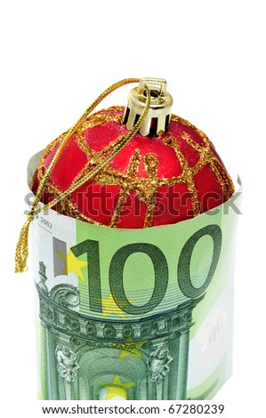 a christmas ball with euro bills symbolizing cosumerism