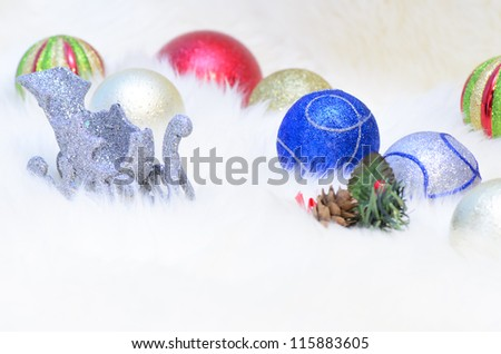A Christmas balls collection on a white fur