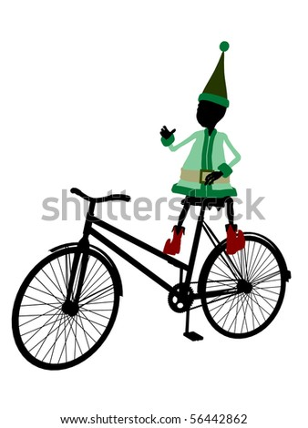 A christmas elf with a bicycle illustration silhouette on a white background - stock photo