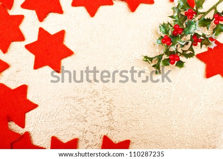 a christmas greeting card with red stars