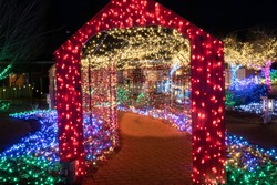 A Christmas lighting display, a brightly illuminated tunnel of colorful lights
