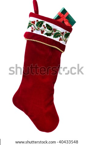 A Christmas stocking isolated on a white background, Christmas stocking