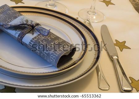 a christmas table detail (selective focus)