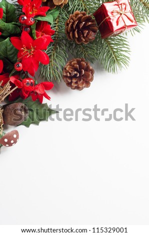 A Christmas themed border running diagonally from mid-left to upper right of frame consisting of a variety of artifical flora decorations with a shiny tied gift box and real fir cones.