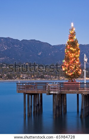 A Christmas tree displayed on Stearn's Wharf in Santa Barbara, California.