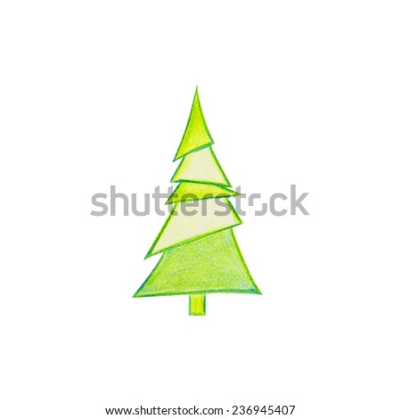 A Christmas Tree Drawn  #236945407